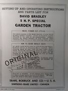 Sears David Bradley 5 H.p Special 917.575100 Walk Tractor Owners And Parts Manual