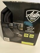 Auto Drive 5pc Car Kit With Phone Holder, Air Freshner, 2 Seat Covers, Steering