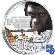2018 1 50 Years Of Planet Of The Apes 1oz Silver Coloured Coin