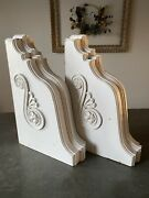 """Pair Antique Wood Corbels Architectural Salvage White Scroll 18.5x12.5x4.5"""" Chic"""