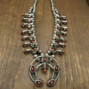 Vintage Southwest Sterling Silver And Coral Shadow Box Squash Blossom