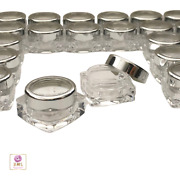 Cosmetic Jars Beauty Lip Balm Containers Silver Trim Acrylic Lid 10 Ml 200 3081