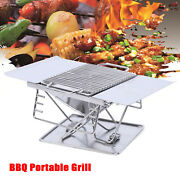 Foldable Outdoor Barbecue Charcoal Grill Stove Shish Kabob Stainless Bbq Camping