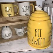 Rae Dunn Large Bee Sweet Gold Yellow Beehive Canister Sweet And Cream Set + Mugs