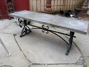 Antique Wrought Iron And Slate Garden Bench