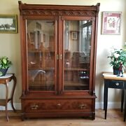 Antique Bookcase China Cabinet - Solid Walnut - Eastlake Victorian - Very Large