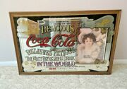 """Large Vintage Coca Cola Mirror In Wood Frame Classic Pub Bar Sign 36""""x24"""""""