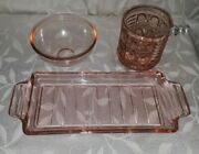 Vintage Depression Glass Pink Tray W/handle + Sugar Bowl W/spoon And Small Bowl
