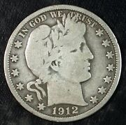 1912 P Barber Silver Half Dollar ☆☆ Circulated ☆☆ Great For Sets 332