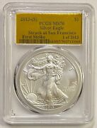 2013-s 1 Silver Eagle Pcgs Ms70 Struck At Sf First Strike Gold Foil 1 Of 2013