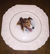 Vintage Lord Nelson Pottery England 9-77 Embossed Collie Plate 8.5 Hand Crafted