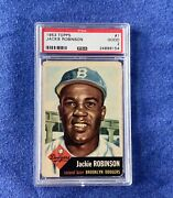 1953 Topps 1jackie Robinson Dodgers Hof Legend Psa 2 Investment Card Free Ship