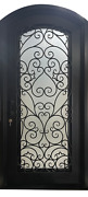 """Wrought Iron Single Door 42"""" X 96"""" ,operable Glass With Iron Pulls"""