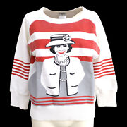 Cc Mademoiselle Long Sleeve Sweat Shirt White Red Cotton G03583h