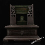Collect China Hetian Green Jade Handcarved Stamp Seal Signet Jade Tablets Book