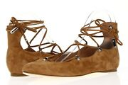 Sigerson Morrison Womens Viata Brown Suede Casual Lace Up Flats Size 7 B
