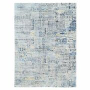 8and0399x12and0391 Gray Stripe Design Modern Wool-silk Hand Knotted Oriental Rug R62418