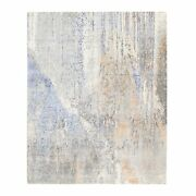 8and039x10 Hand Knotted Gray Abstract Design Modern Wool-silk Oriental Rug R62406