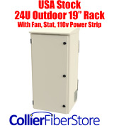 19 24u Outdoor Cabinet For Post/tower/wall W/ Fans/thermostat/110v Power Strip