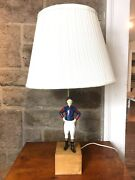 Vintage 21 Club Blue And Red Jockey Lamp Wooden Base
