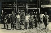 Indonesia, Sumatra, Atjeh Aceh, Group Of Native Armed Men 1910s Rppc Postcard