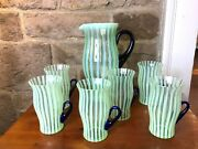 Vintage Fenton Glass Rib Optic Stripe Green Opalescent Pitcher And Glasses