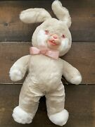 Vintage Rushton Star Creation Cuddle Bunny Rabbit Pink Eyes Rubber Face Bend Ear
