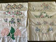 Lot 16 Vintage Pillowcases Embroidered 7 Pair Two Singles Floral His Hers Birds