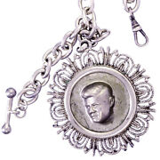 Pocket Watch Chain With Embossed 1971 Kennedy Half Dollar | German Silver