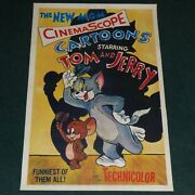 Tom And Jerry 1955 Original Stock 1 Sheet Movie Poster Linen Backed Mgm