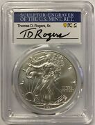 2021 Silver Eagle Pcgs Ms70 First Day Of Issue - T.d. Rogers Signed