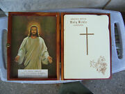 1958 Vintage Catholic The Holy Bible In Cedar Wood Box Studebaker Local 5 Gift