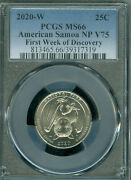 2020-w American Samoa Quarter Pcgs Ms66 First Week Of Discovery V75 .
