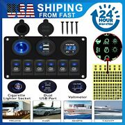 Car Marine Boat Rv 6 Gang On-off Blue Led Toggle Switch Panel Circuit Breaker Us