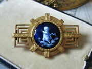 Rare Antique French Limoges Enamel Cherub Cameo Gold Filled Brooch