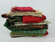 Christmas Winter Fabric Mixed Lot Over 5 Lbs Pounds Cotton Quilting Crafts