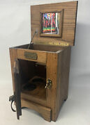 """Vintage White Clad Ice Box Cabinet For Wine/beer Solid Oak, Brass.. 18"""" X 14.5"""""""