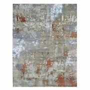 8and039x10and0392 Wool And Silk Abstract Design Denser Weave Hand Knotted Rug R66560
