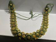 Vintage Marble Jade/jadite Choker Beads Collar Necklace 58cm With Thrads