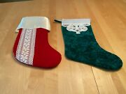 Vintage Handmade Green And Red Velvet Lace Christmas 14 Stockings Set Of 2