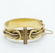 Exquisite Antique Victorian Etruscan Revival 14k Hinged Bangle
