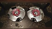 Vtg Pair 1955 56 Ford Fairlane Mainline Sunliner Dog Dish Hub Caps Wheel Covers
