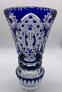 Stunning X-large French Cobalt Blue Cut-to-clear Etched Crystal Glass Vase