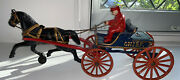 Vintage Fireman Chief Cast Iron Toy Horse Drawn Fire Engine Carriage Wagon