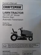 Sears Craftsman Dyt4000 Riding Lawn Tractor Owner And Parts Manual 917.2736402