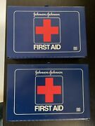 Vintage Wall Mount Johnson And Johnson First Aid Kit Lot Of 2 Blue Metal Box 8161