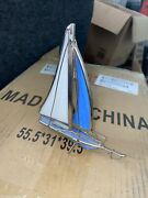 Vintage Stained Glass Sail Boat 3d Standing Leaded Boat