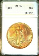 1923 20 Double Eagle Anacs Ms 60 Mint State Luster Antique Holder Sharp Strike