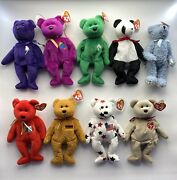 Lot Of 9 Ty Beanie Baby Vintage Rare 1990s Original Collectible Stuffed Animals