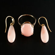 Vintage 1950and039s 9k Yellow Gold Angel Hair Coral Ring Dangle Earring Set 14.5ctw